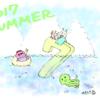 【イラスト】7月、海と入道雲
